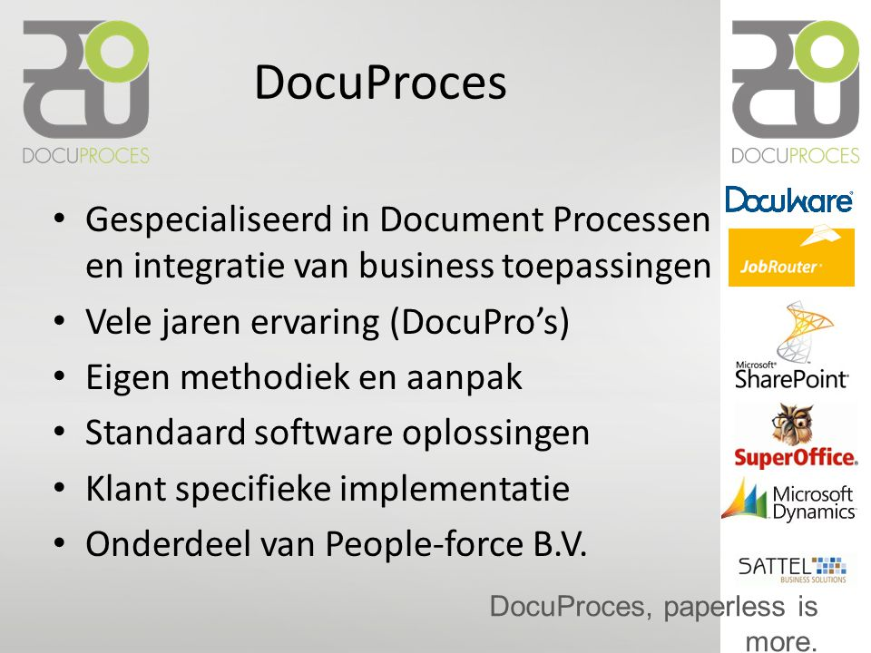 DocuProces, paperless is more. DocuSwing DocuCycle