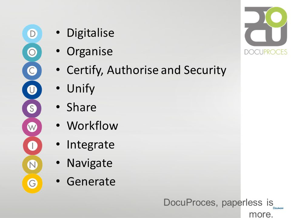 DocuProces, paperless is more. Digitalise Organise Certify, Authorise and Security Unify Share Workflow Integrate Navigate Generate