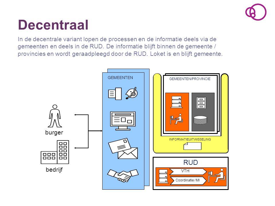 Decentraal In de decentrale variant lopen de processen en de informatie deels via de gemeenten en deels in de RUD. De informatie blijft binnen de geme