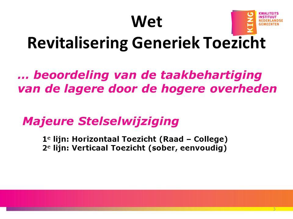 Wet Revitalisering Generiek Toezicht 3 Majeure Stelselwijziging 1 e lijn: Horizontaal Toezicht (Raad – College) 2 e lijn: Verticaal Toezicht (sober, e