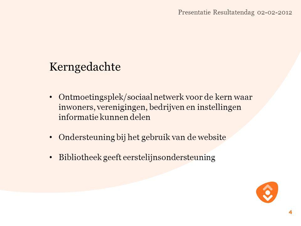 Presentatie Resultatendag 02-02-2012 5 Aanpak Inventarisatie wensen en eisen in voorbeelddorpen Projectopzet: ontmoeting en kennis/informatie delen