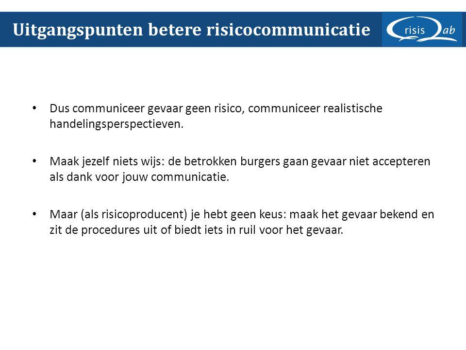 Dus communiceer gevaar geen risico, communiceer realistische handelingsperspectieven.