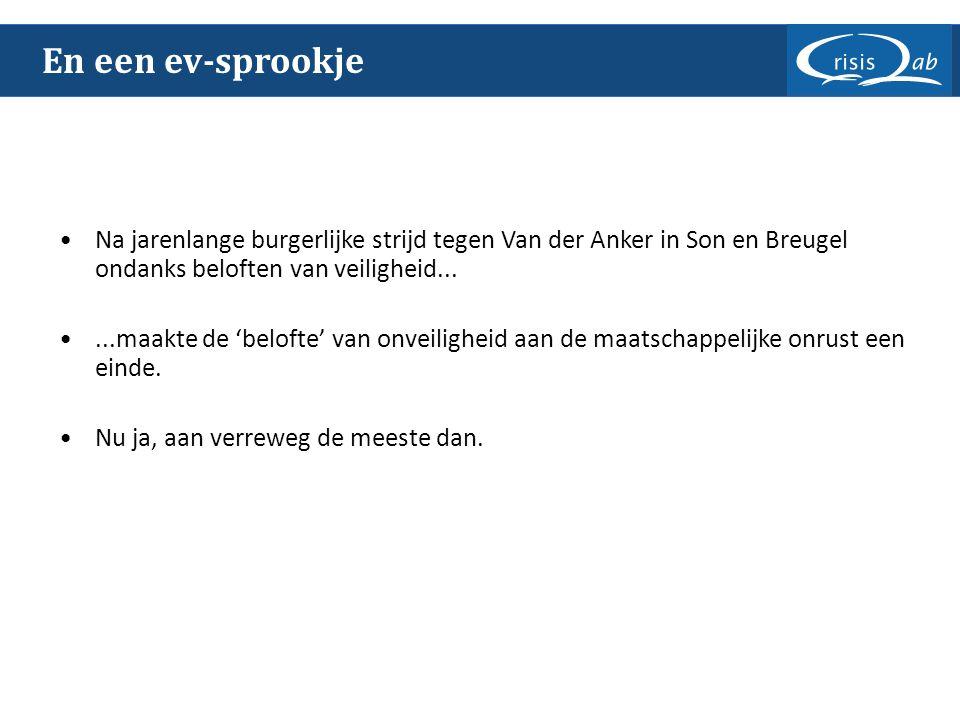 En een ev-sprookje Na jarenlange burgerlijke strijd tegen Van der Anker in Son en Breugel ondanks beloften van veiligheid......maakte de 'belofte' van onveiligheid aan de maatschappelijke onrust een einde.