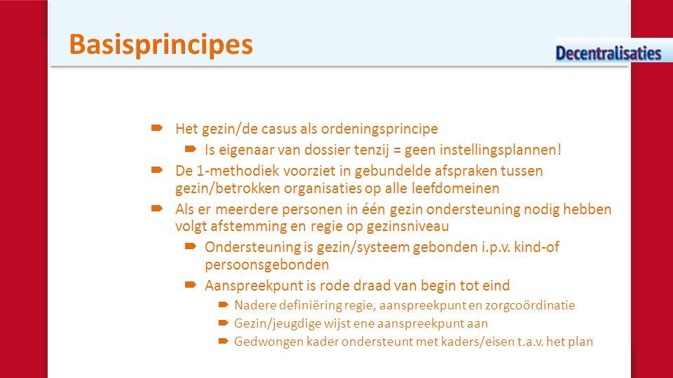 Basisprincipes  Het gezin/de casus als ordeningsprincipe  Is eigenaar van dossier tenzij = geen instellingsplannen!  De 1-methodiek voorziet in geb