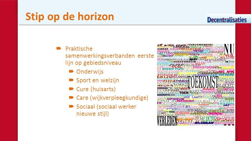 Stip op de horizon  Praktische samenwerkingsverbanden eerste lijn op gebiedsniveau  Onderwijs  Sport en welzijn  Cure (huisarts)  Care (wijkverpl