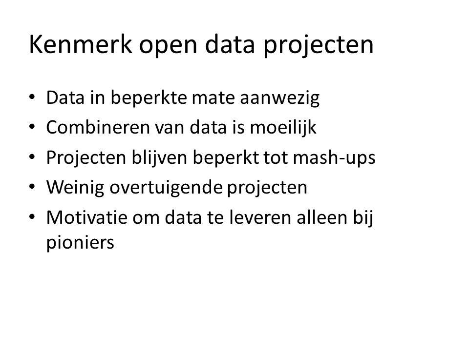 Kenmerk open data projecten Data in beperkte mate aanwezig Combineren van data is moeilijk Projecten blijven beperkt tot mash-ups Weinig overtuigende