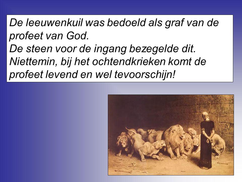 De leeuwenkuil was bedoeld als graf van de profeet van God. De steen voor de ingang bezegelde dit. Niettemin, bij het ochtendkrieken komt de profeet l