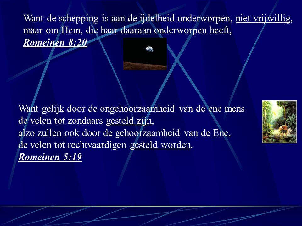 Want de schepping is aan de ijdelheid onderworpen, niet vrijwillig, maar om Hem, die haar daaraan onderworpen heeft, Romeinen 8:20 Want gelijk door de ongehoorzaamheid van de ene mens de velen tot zondaars gesteld zijn, alzo zullen ook door de gehoorzaamheid van de Ene, de velen tot rechtvaardigen gesteld worden.