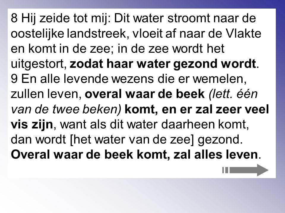 8 Hij zeide tot mij: Dit water stroomt naar de oostelijke landstreek, vloeit af naar de Vlakte en komt in de zee; in de zee wordt het uitgestort, zodat haar water gezond wordt.