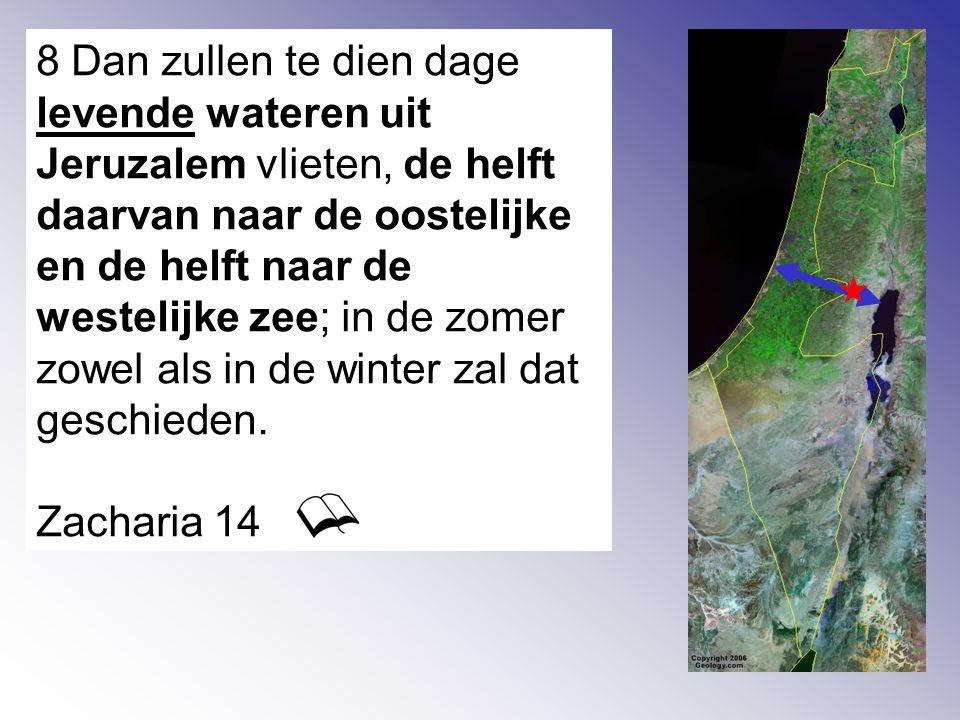 8 Dan zullen te dien dage levende wateren uit Jeruzalem vlieten, de helft daarvan naar de oostelijke en de helft naar de westelijke zee; in de zomer zowel als in de winter zal dat geschieden.