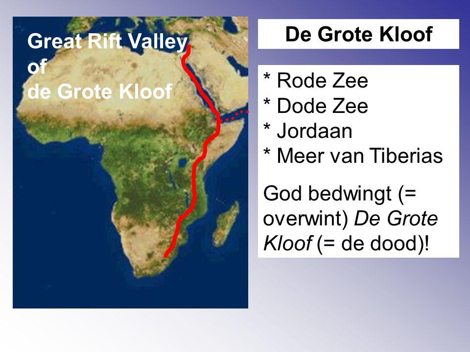 Great Rift Valley of de Grote Kloof De Grote Kloof * Rode Zee * Dode Zee * Jordaan * Meer van Tiberias God bedwingt (= overwint) De Grote Kloof (= de dood)!