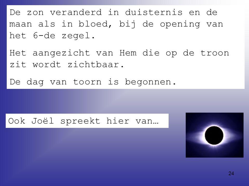 24 De zon veranderd in duisternis en de maan als in bloed, bij de opening van het 6-de zegel.