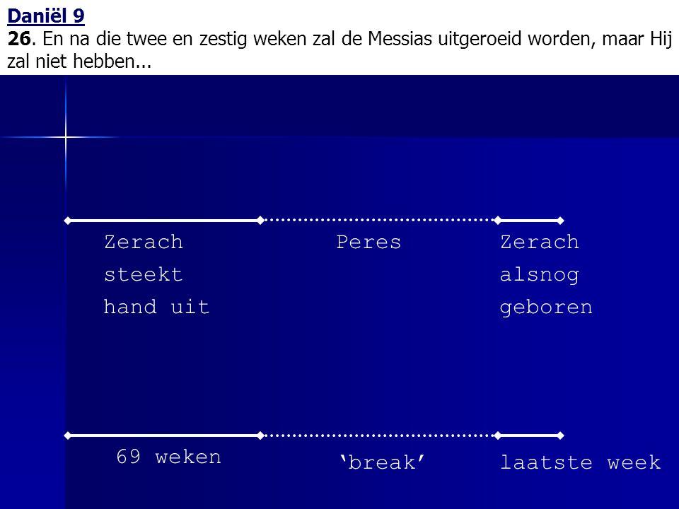 Daniël 9 26. En na die twee en zestig weken zal de Messias uitgeroeid worden, maar Hij zal niet hebben... 69 weken 'break' Zerach alsnog geboren Zerac