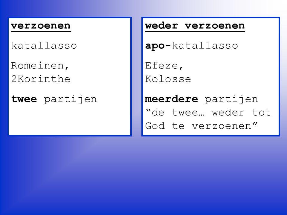 """verzoenen katallasso Romeinen, 2Korinthe twee partijen weder verzoenen apo-katallasso Efeze, Kolosse meerdere partijen """"de twee… weder tot God te verz"""