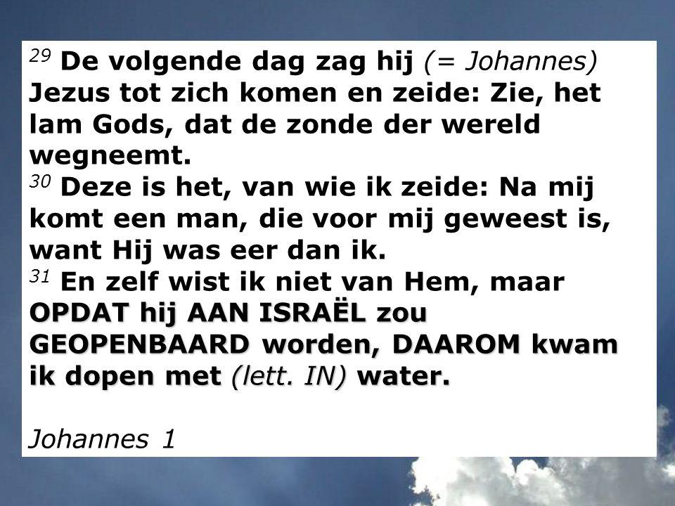 29 De volgende dag zag hij (= Johannes) Jezus tot zich komen en zeide: Zie, het lam Gods, dat de zonde der wereld wegneemt.