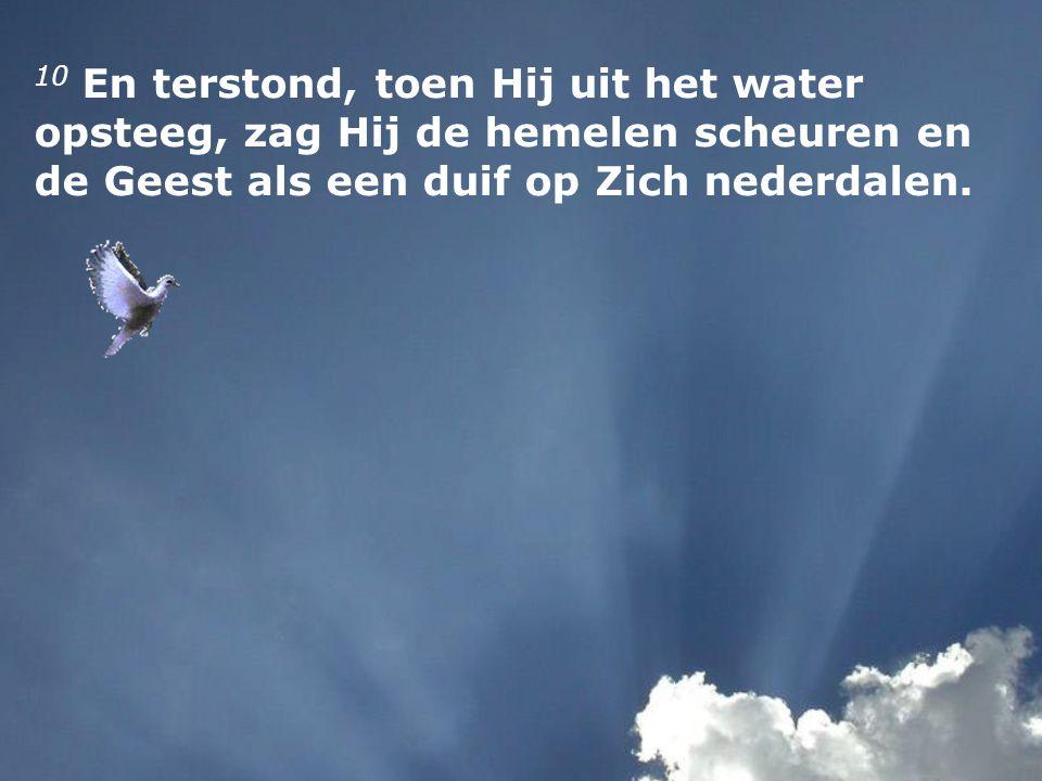10 En terstond, toen Hij uit het water opsteeg, zag Hij de hemelen scheuren en de Geest als een duif op Zich nederdalen.