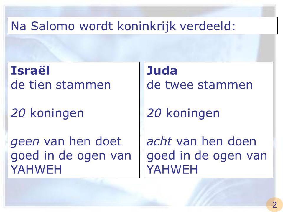Na Salomo wordt koninkrijk verdeeld: Israël de tien stammen 20 koningen geen van hen doet goed in de ogen van YAHWEH Juda de twee stammen 20 koningen