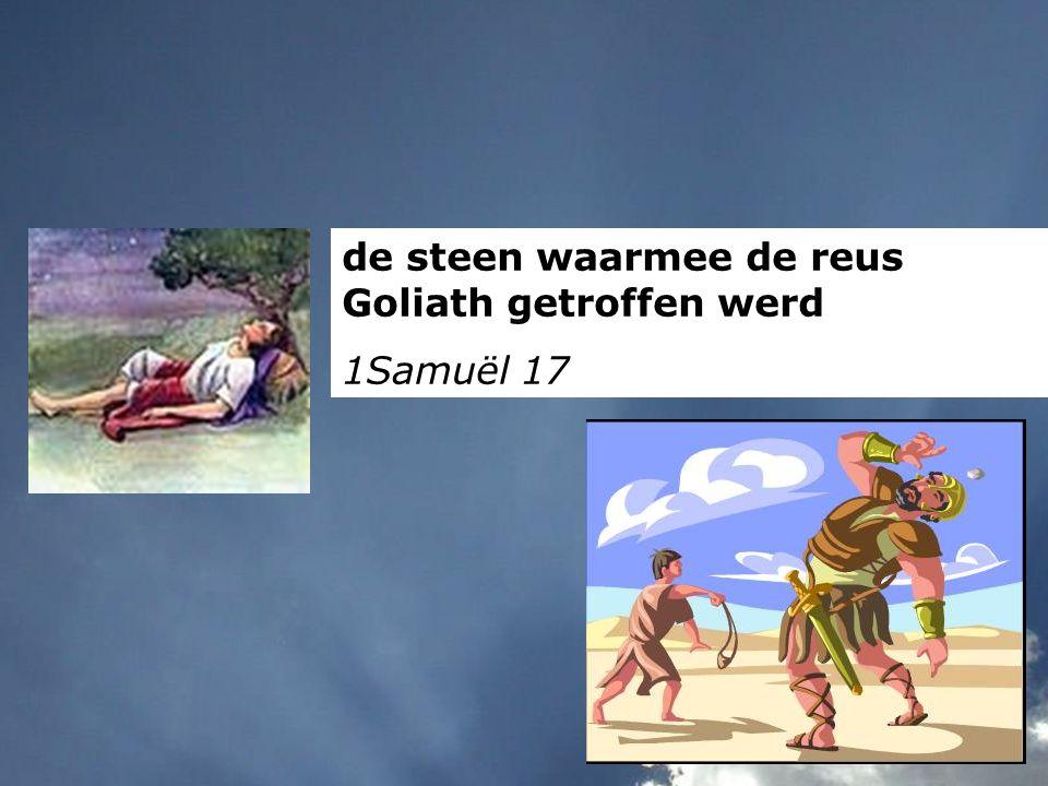 de steen waarmee de reus Goliath getroffen werd 1Samuël 17