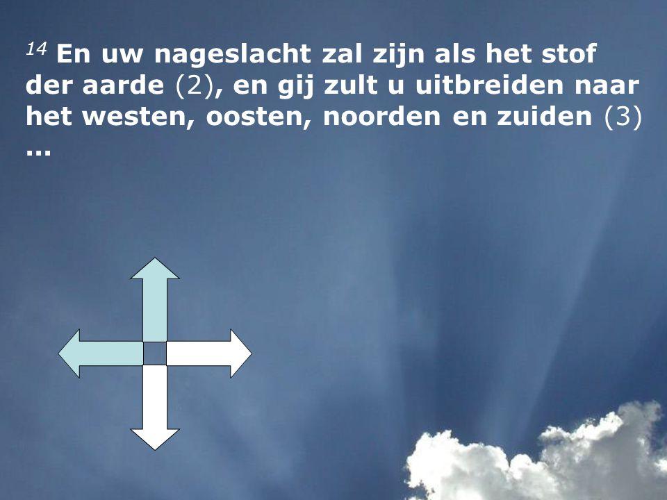14 En uw nageslacht zal zijn als het stof der aarde (2), en gij zult u uitbreiden naar het westen, oosten, noorden en zuiden (3)...