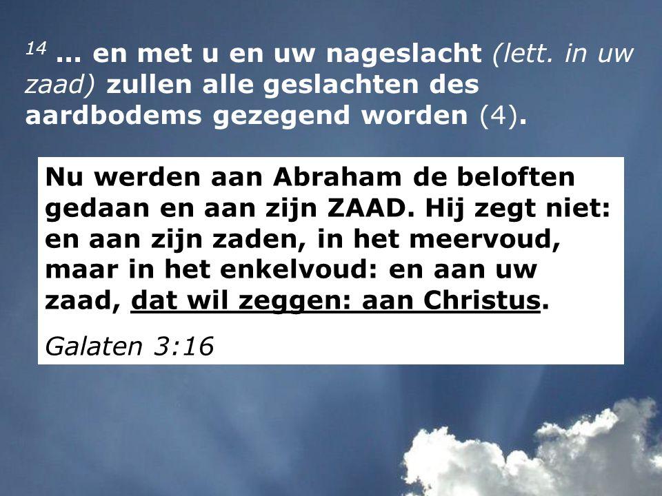 14... en met u en uw nageslacht (lett. in uw zaad) zullen alle geslachten des aardbodems gezegend worden (4). Nu werden aan Abraham de beloften gedaan