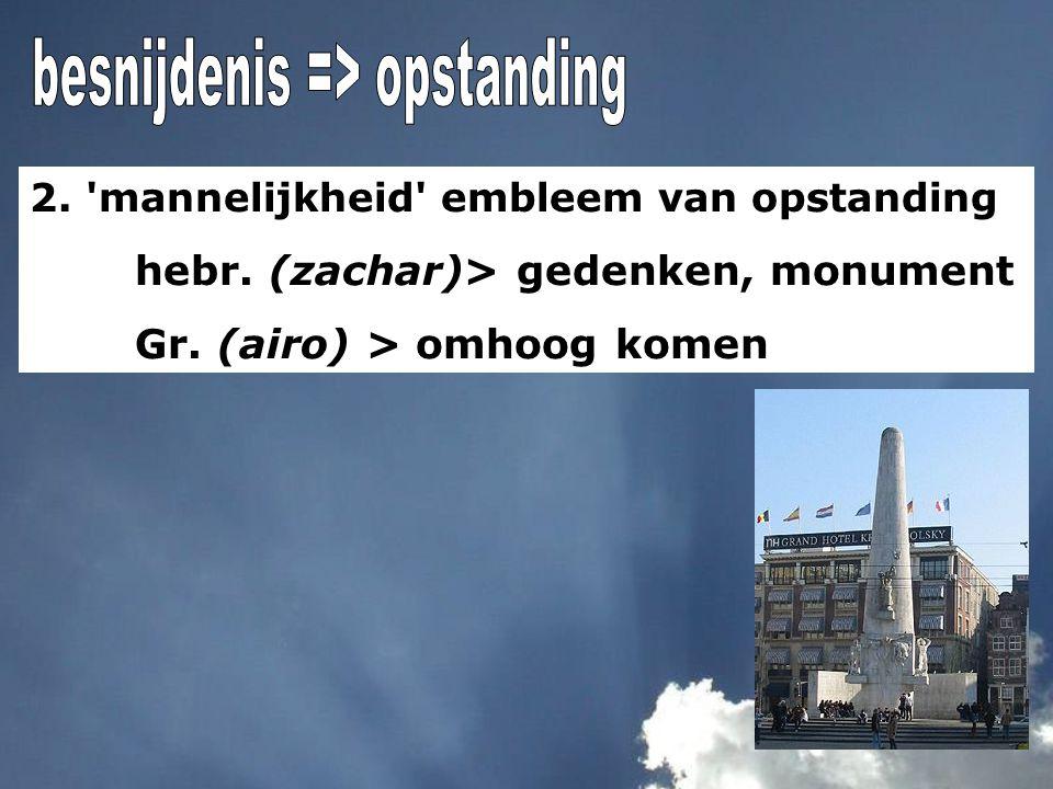 2. 'mannelijkheid' embleem van opstanding hebr. (zachar)> gedenken, monument Gr. (airo) > omhoog komen