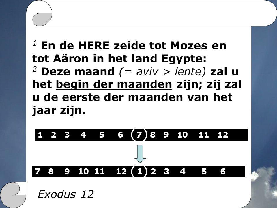 1 En de HERE zeide tot Mozes en tot Aäron in het land Egypte: 2 Deze maand (= aviv > lente) zal u het begin der maanden zijn; zij zal u de eerste der