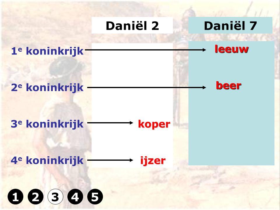 Daniël 2Daniël 7 1 e koninkrijk 2 e koninkrijk 3 e koninkrijk 4 e koninkrijkkoper ijzer ijzer leeuw beer beer 12345