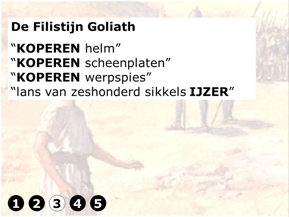 De Filistijn Goliath KOPEREN helm KOPEREN scheenplaten KOPEREN werpspies lans van zeshonderd sikkels IJZER 12345