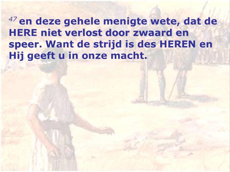 niet verlost door zwaard en speer 47 en deze gehele menigte wete, dat de HERE niet verlost door zwaard en speer.