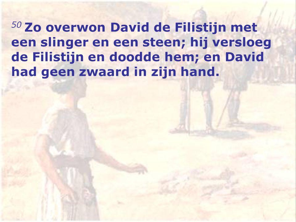 50 Zo overwon David de Filistijn met een slinger en een steen; hij versloeg de Filistijn en doodde hem; en David had geen zwaard in zijn hand.