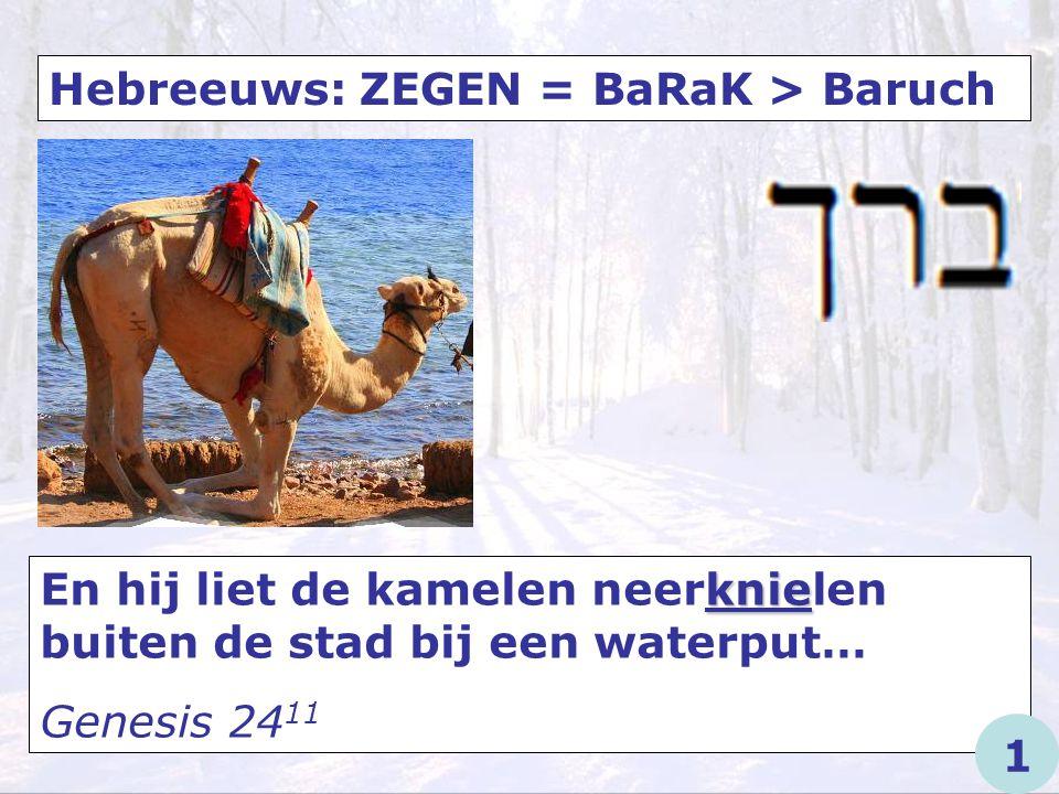 Hebreeuws: ZEGEN = BaRaK > Baruch knie Want Ik heb gezworen bij Mij zelf (…) dat voor Mij elke knie zich zal buigen… Jesaja 45 23 1