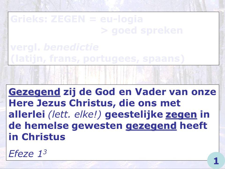 Grieks: ZEGEN = eu-logia > goed spreken vergl. benedictie (latijn, frans, portugees, spaans) Gezegend zegen gezegend Gezegend zij de God en Vader van