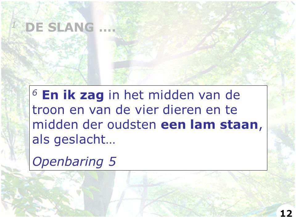 6 En ik zag in het midden van de troon en van de vier dieren en te midden der oudsten een lam staan, als geslacht… Openbaring 5 1 DE SLANG …. 12