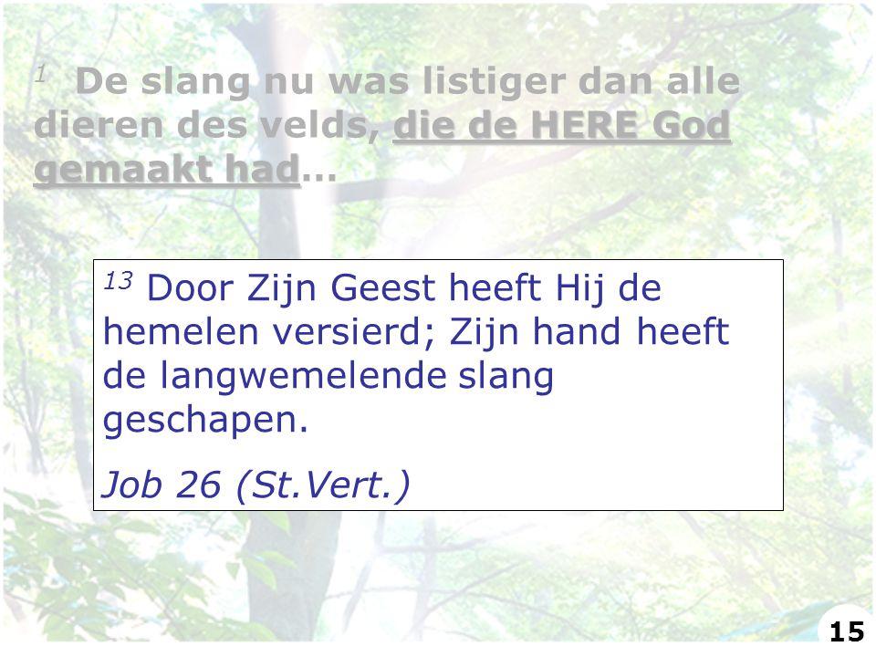 13 Door Zijn Geest heeft Hij de hemelen versierd; Zijn hand heeft de langwemelende slang geschapen. Job 26 (St.Vert.) die de HERE God gemaakt had 1 De