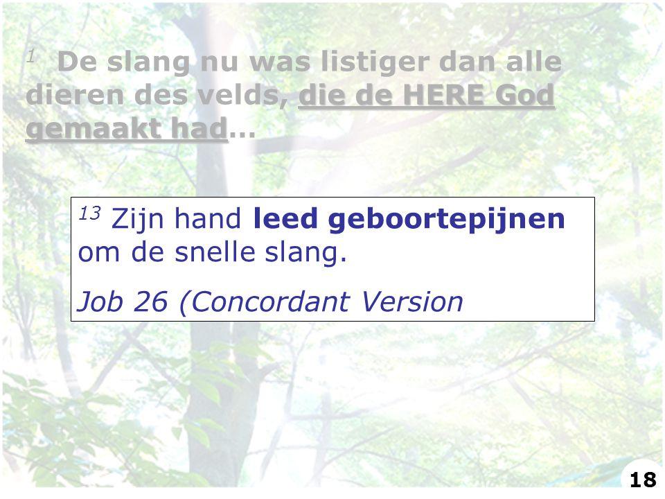 13 Zijn hand leed geboortepijnen om de snelle slang. Job 26 (Concordant Version die de HERE God gemaakt had 1 De slang nu was listiger dan alle dieren