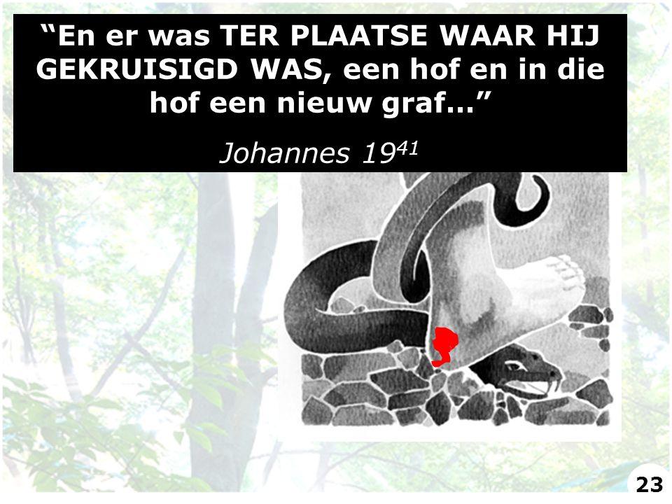 """""""En er was TER PLAATSE WAAR HIJ GEKRUISIGD WAS, een hof en in die hof een nieuw graf…"""" Johannes 19 41 23"""