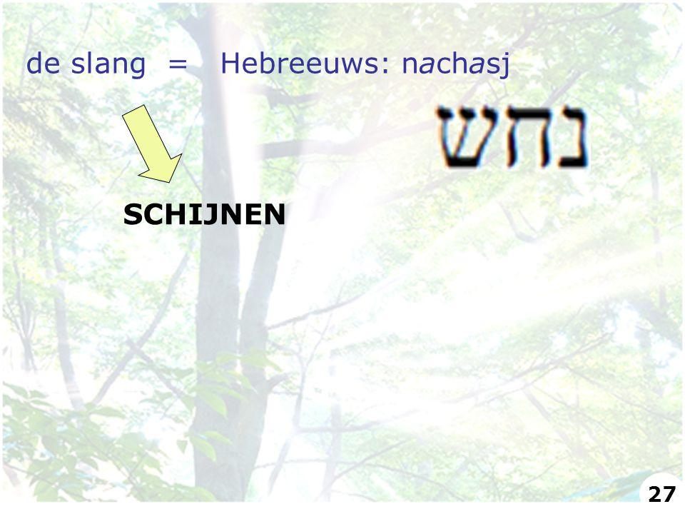 de slang = Hebreeuws: nachasj SCHIJNEN 27