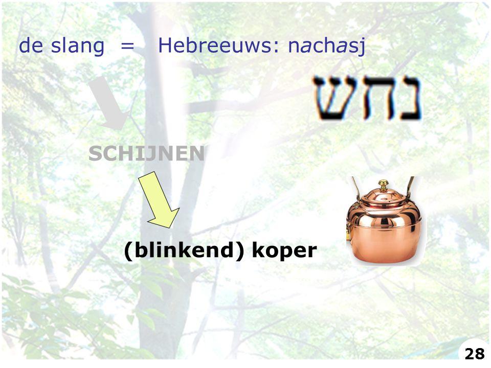 de slang = Hebreeuws: nachasj SCHIJNEN (blinkend) koper 28