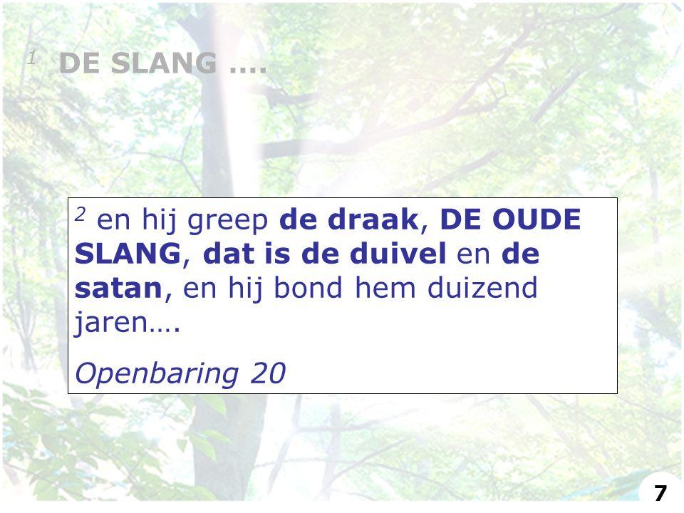 2 en hij greep de draak, DE OUDE SLANG, dat is de duivel en de satan, en hij bond hem duizend jaren….
