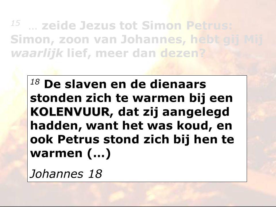 KOLENVUUR 18 De slaven en de dienaars stonden zich te warmen bij een KOLENVUUR, dat zij aangelegd hadden, want het was koud, en ook Petrus stond zich