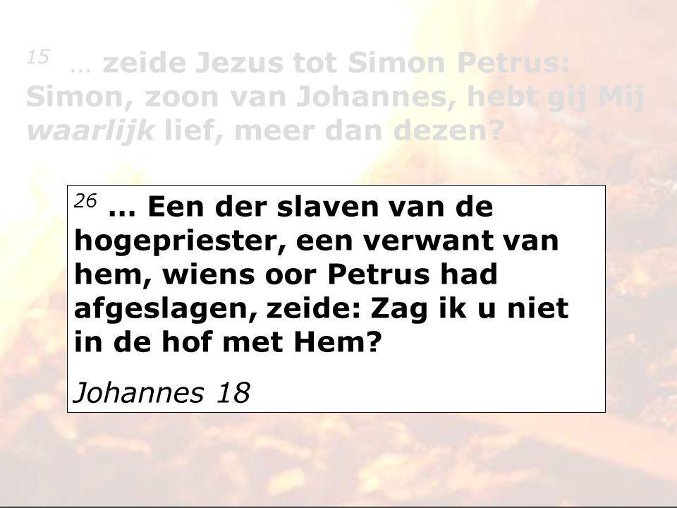26 … Een der slaven van de hogepriester, een verwant van hem, wiens oor Petrus had afgeslagen, zeide: Zag ik u niet in de hof met Hem? Johannes 18 15