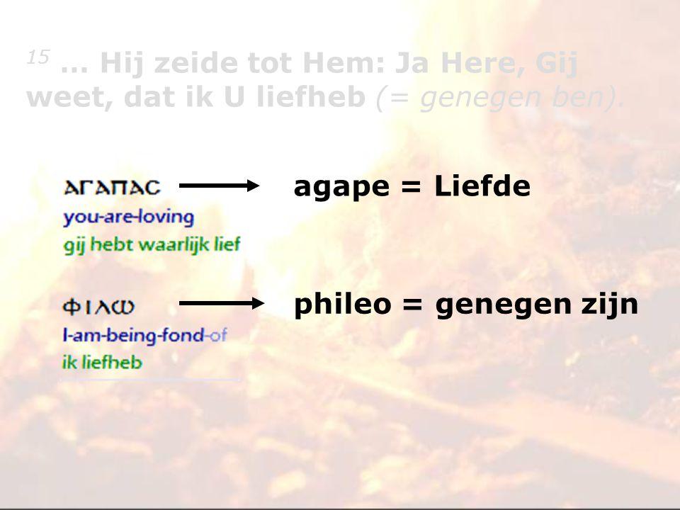agape = Liefde phileo = genegen zijn