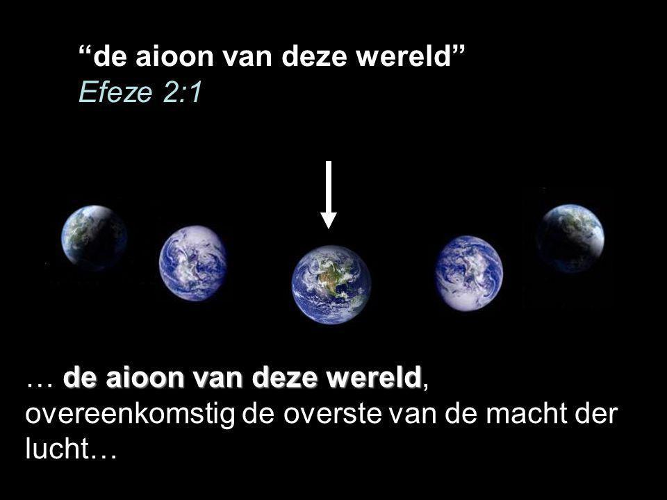 de aioon van deze wereld Efeze 2:1 de aioon van deze wereld … de aioon van deze wereld, overeenkomstig de overste van de macht der lucht…