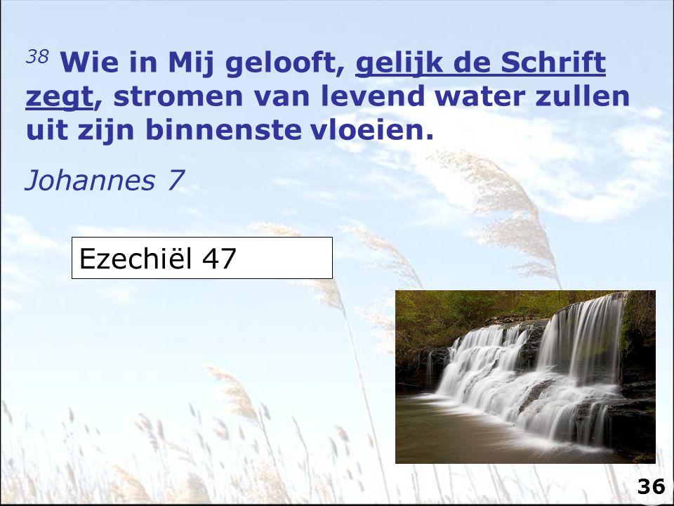 38 Wie in Mij gelooft, gelijk de Schrift zegt, stromen van levend water zullen uit zijn binnenste vloeien. Johannes 7 Ezechiël 47 36