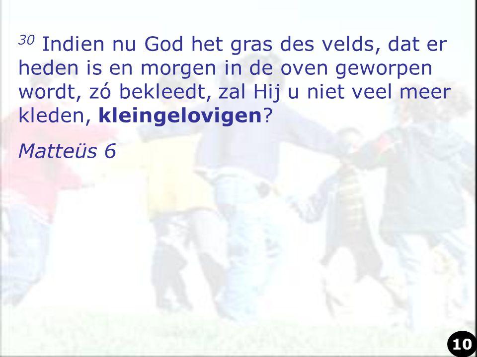 30 Indien nu God het gras des velds, dat er heden is en morgen in de oven geworpen wordt, zó bekleedt, zal Hij u niet veel meer kleden, kleingelovigen.
