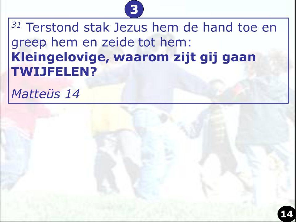 31 Terstond stak Jezus hem de hand toe en greep hem en zeide tot hem: Kleingelovige, waarom zijt gij gaan TWIJFELEN? Matteüs 14 3 14