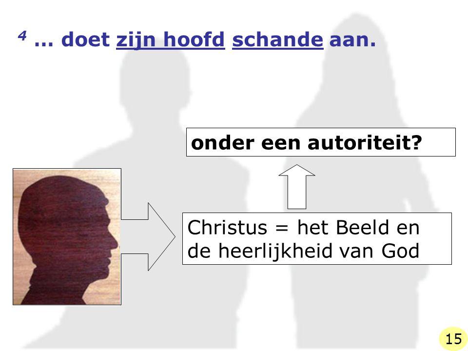Christus = het Beeld en de heerlijkheid van God onder een autoriteit? 4 … doet zijn hoofd schande aan. 15