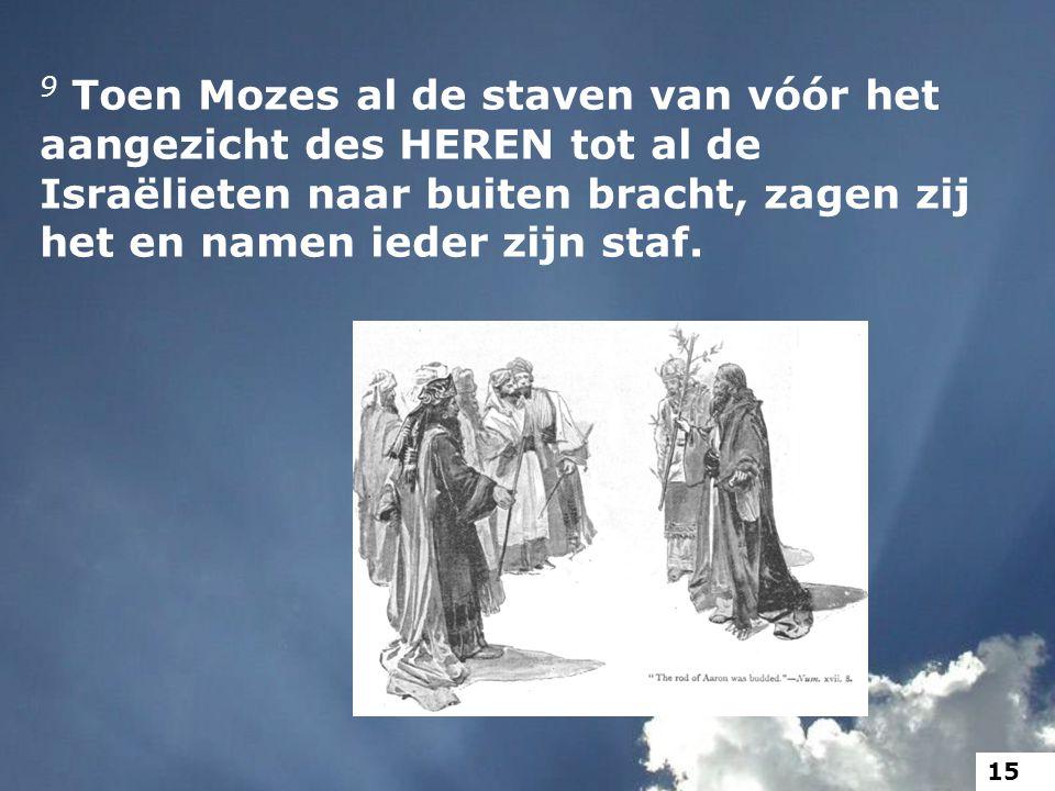 9 Toen Mozes al de staven van vóór het aangezicht des HEREN tot al de Israëlieten naar buiten bracht, zagen zij het en namen ieder zijn staf. 15
