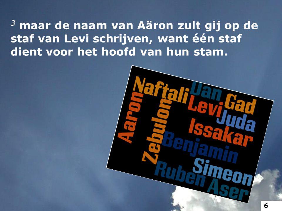 3 maar de naam van Aäron zult gij op de staf van Levi schrijven, want één staf dient voor het hoofd van hun stam. 6