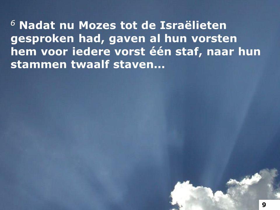6 Nadat nu Mozes tot de Israëlieten gesproken had, gaven al hun vorsten hem voor iedere vorst één staf, naar hun stammen twaalf staven... 9
